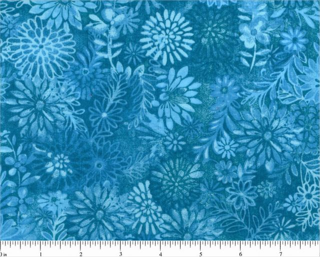 "108"" Choice Fabric Aqua Floral 48328-A02"