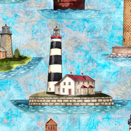 Smooth Sailing Lighthouses turquoise 27160Q