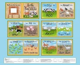 Barnyard Boogie fabric book panel