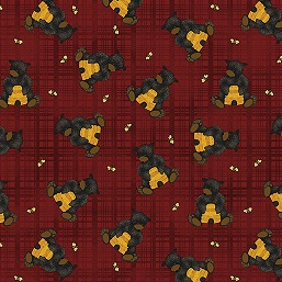 Bear Paw Bear with honey plaid red 681-10