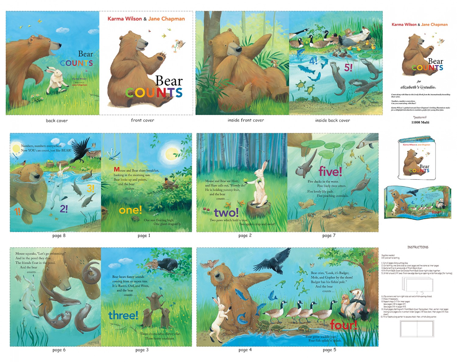 Bear Counts Baby Book Panel