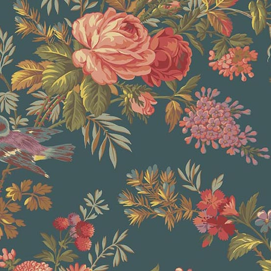 Bed of Rose 8985T Teal main floral