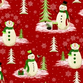 Blank Woodland Christmas red snowmen 7244-88