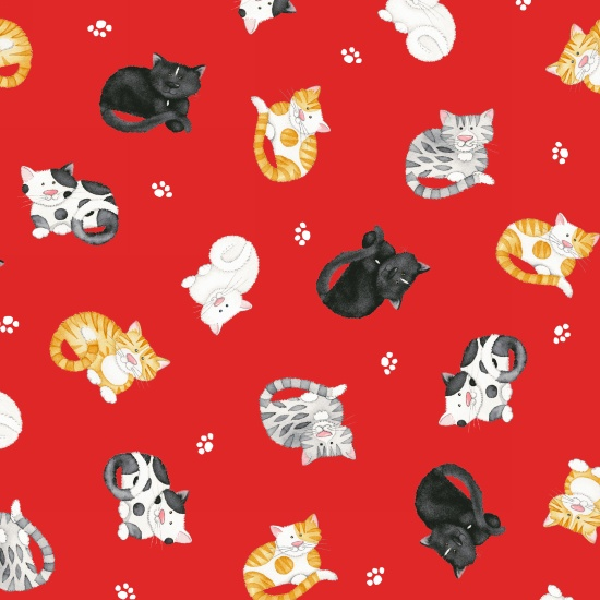 Cat's Meow red tossed kitties 1148-88