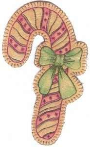 Embroidered candy cane by Chickadee Hollow Designs