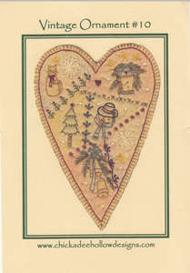 Embroidered Prim Heart by Chickadee Hollow Designs
