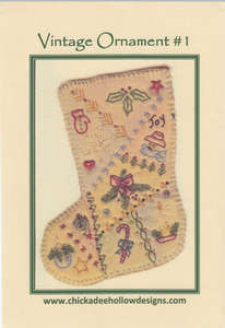 Embroidered Stocking by Chickadee Hollow Designs