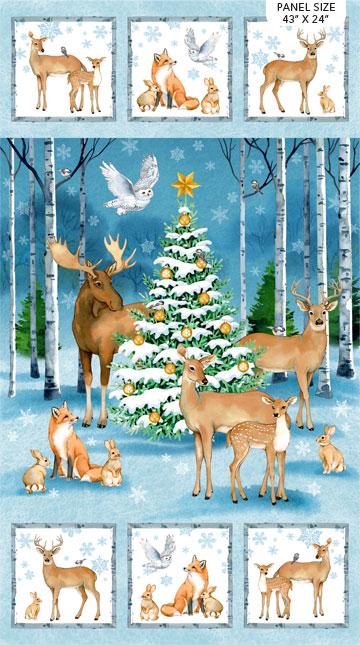 Christmas Woodland Panel by Northcott DP23524-44