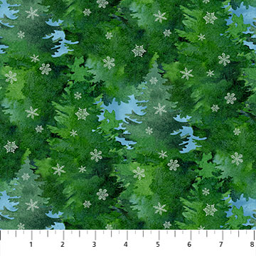 Christmas Woodland Pine Trees by Northcott 23528-973