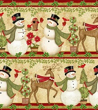 Cream Snowman Stripe by Studio E 3249s-44