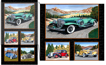 Classic Cars Panel by Exclusively Quilters