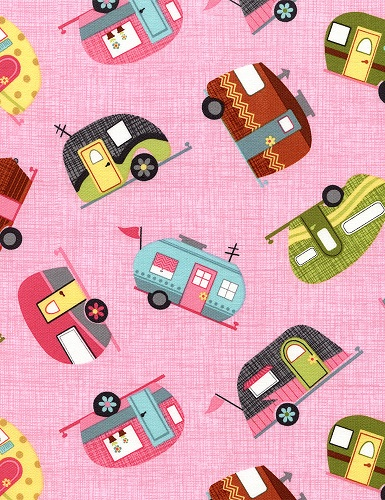 Pink Motorhomes by Timeless Treasures Fun-C2328