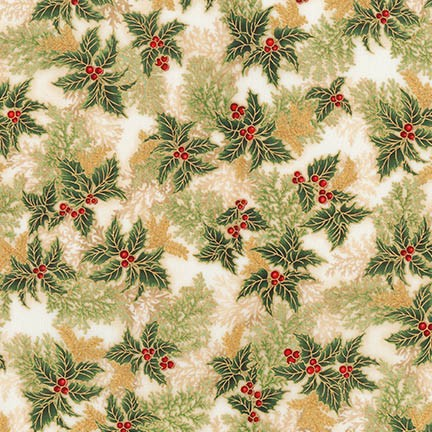 Holiday Flourish 11 gold holly sprigs APTM-17340-223