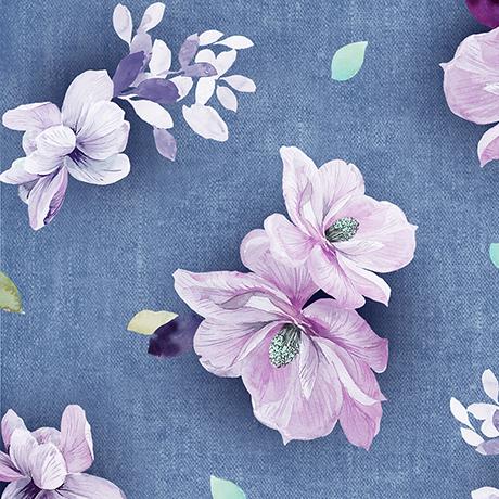 Jacqueline Tossed Flowers Denim 26558W