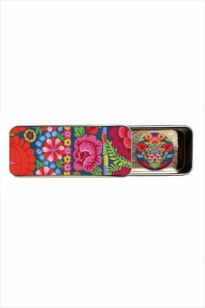 Kaffe Fassett Artesian Embroidered Flower Border Magnetic Needle Tin
