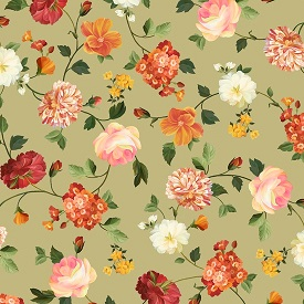 Les Fleurs, green tossed flowers 24358H