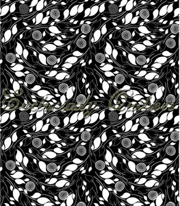 Matrix Black with White Leaves 3916-60571-8