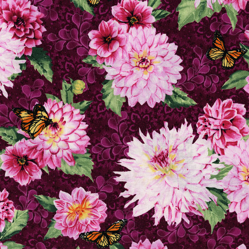 Newport Place West Cliff Aubergine Main Floral 3258-001