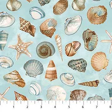 Shore Thing Seashells on blue 22072-42