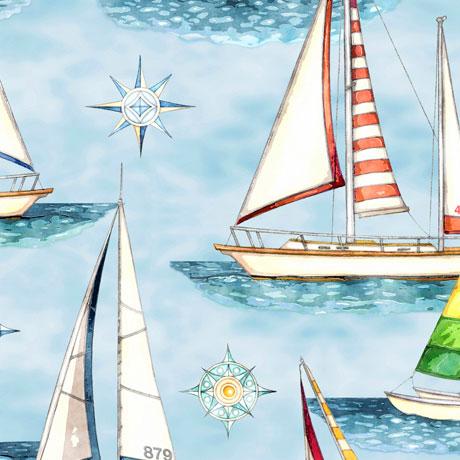 Smooth Sailing Sailboats light blue 27159B
