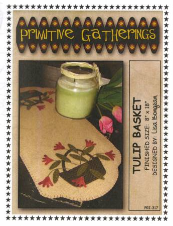 Tulip Basket wool table runner kit by Primitive Gatherings
