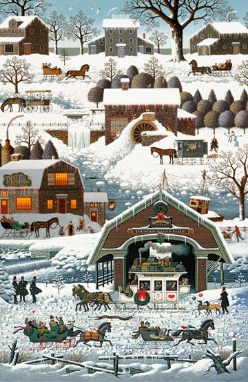 Charles Wysocki Winter Village panel DP22373-10