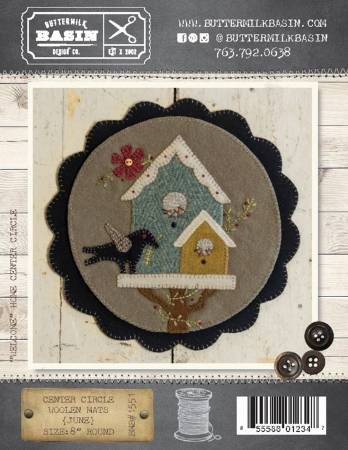 Woolen Mat June birdhouse pattern BMB 1551