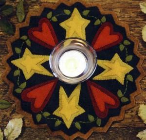 Penny rug kit Folk Art hearts and Stars BR166K